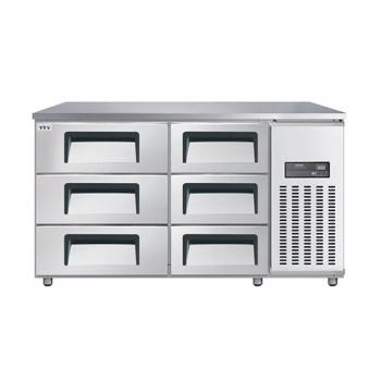 고급형 높은 서랍식 보냉테이블 1500 간접 냉각 냉장 375L (폭700/800) 올 스텐