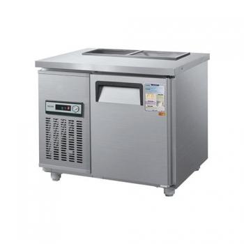 찬밧드 테이블 냉장고 900 아날로그 직접 냉각 냉장 105L 메탈